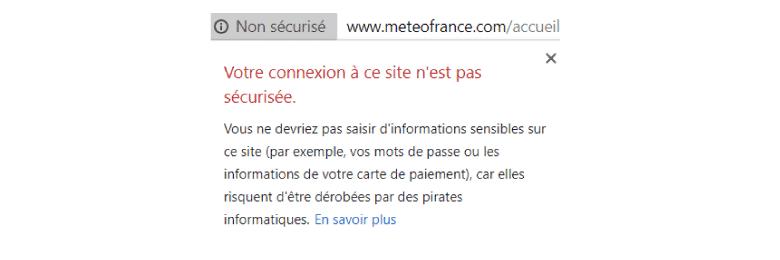 meteo-france site internet non-sécurisé
